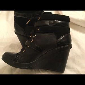 Michael Kors Wedge Double Buckle Black  Leather